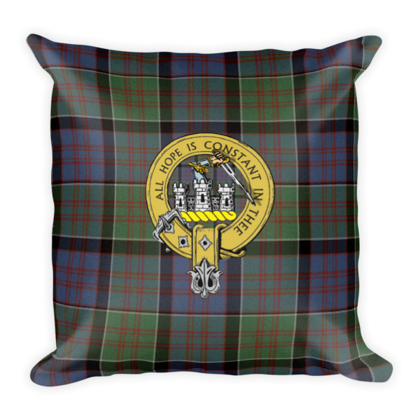 Scottish Clan Badge and Tartan Pillow