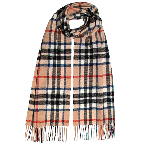 Thompson Camel Modern Lambswool Scarf